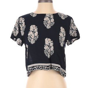 C Apparel Floral Short Sleeve Blouse Small